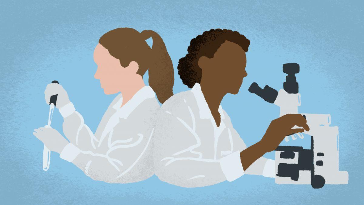 laboratoire chercheuses microscope