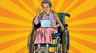 femme ageee fauteil roulant tablette